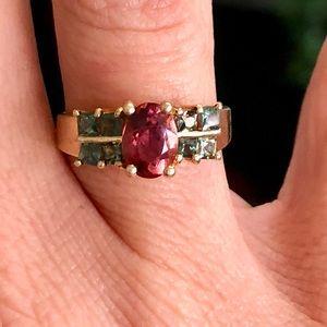 Vintage 14k Gold Pink Green Tourmaline Ring